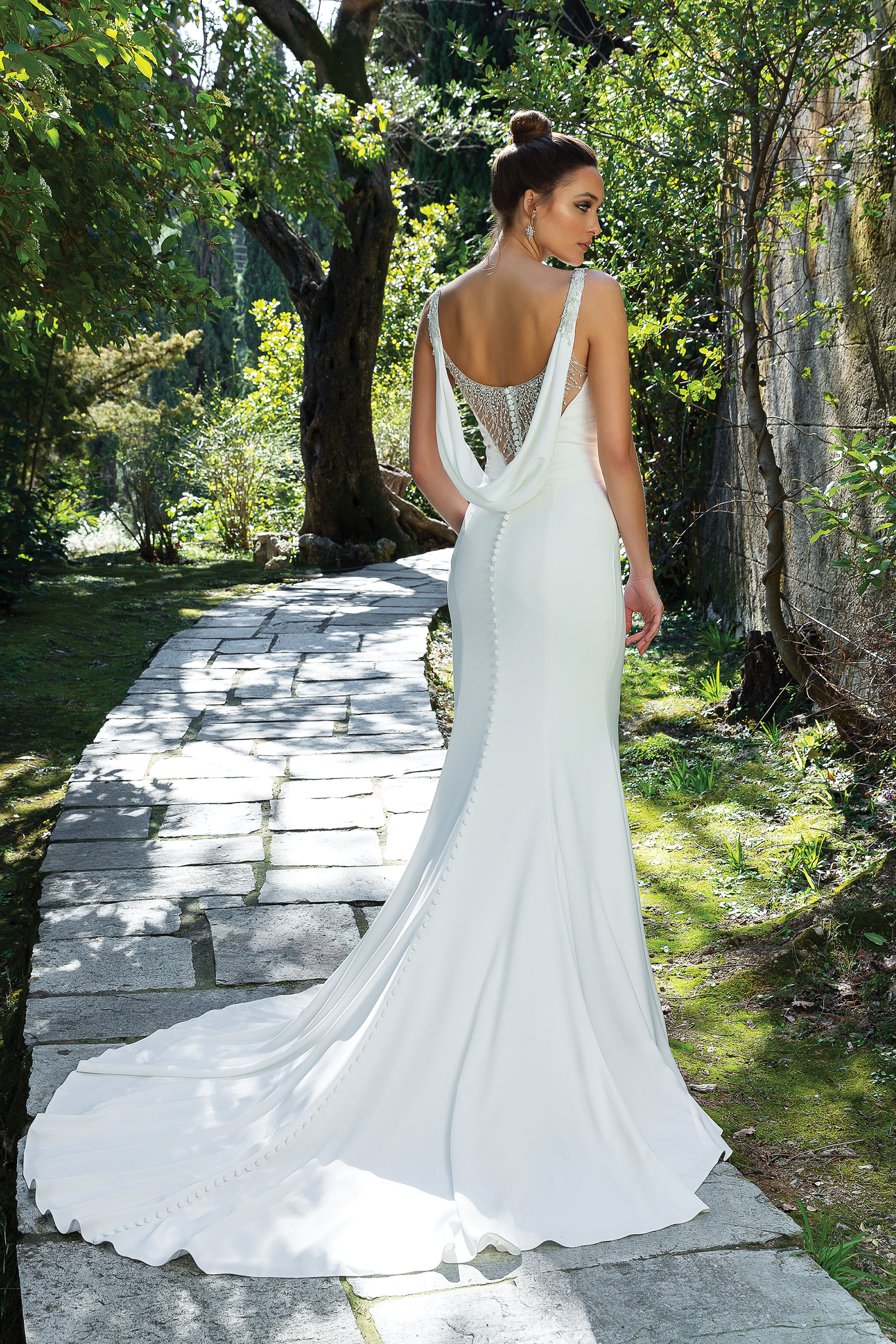 Back detail of trumpet wedding dress