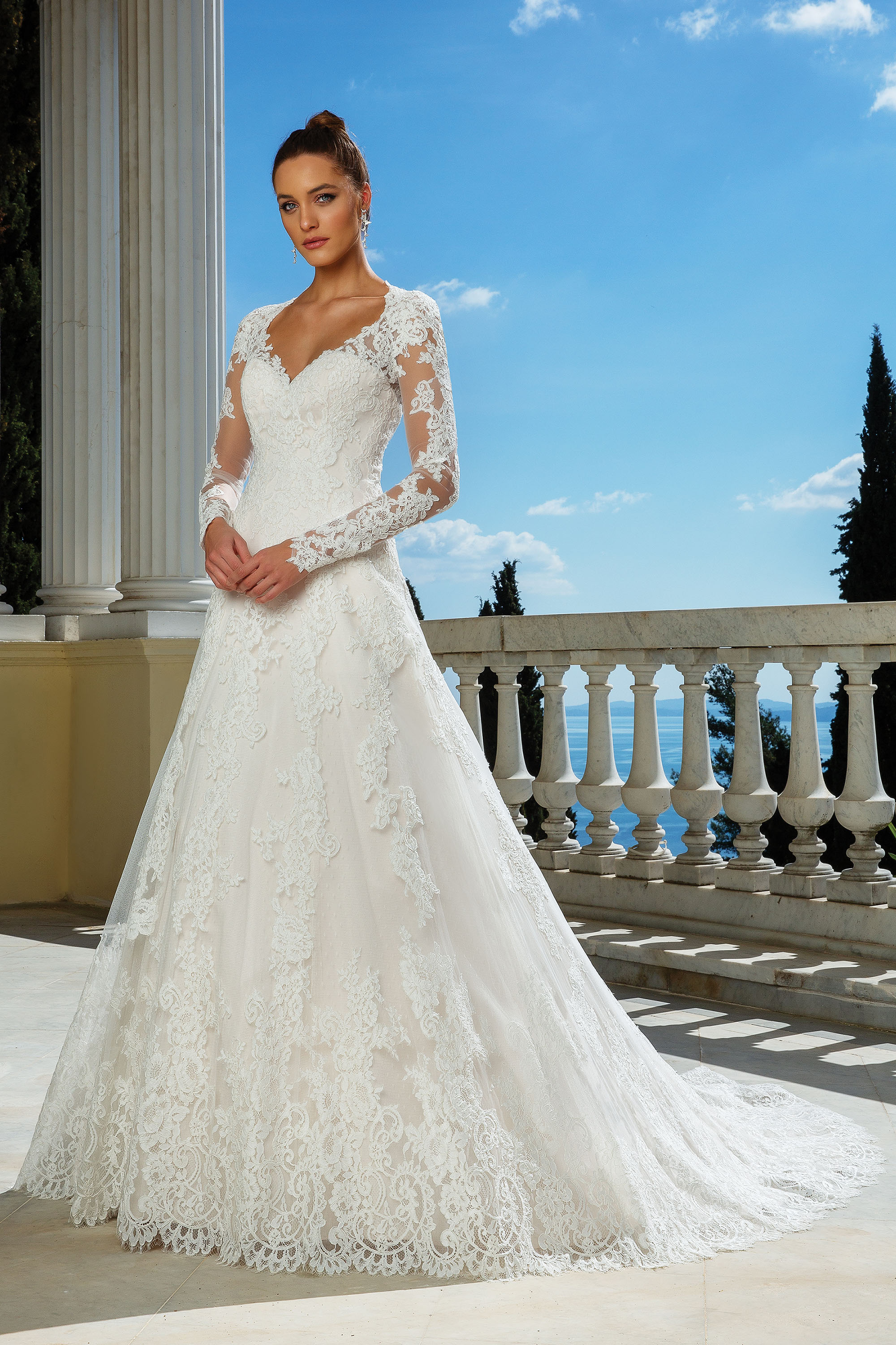 A-line embroidered lace wedding dress with sleeves