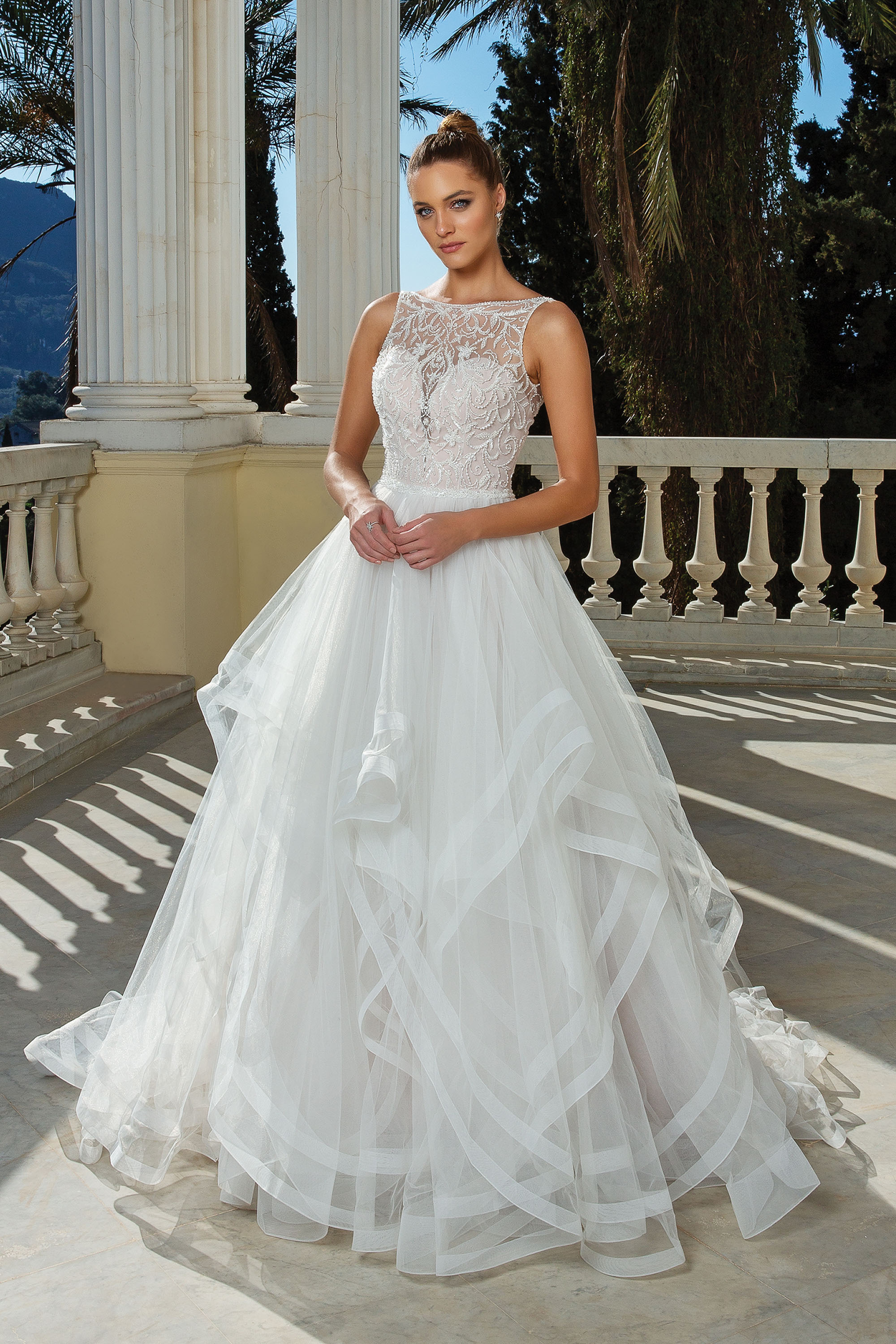 High neck, tulle wedding dress