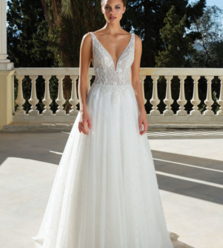 A-line, v-neck wedding dress with embroidered details