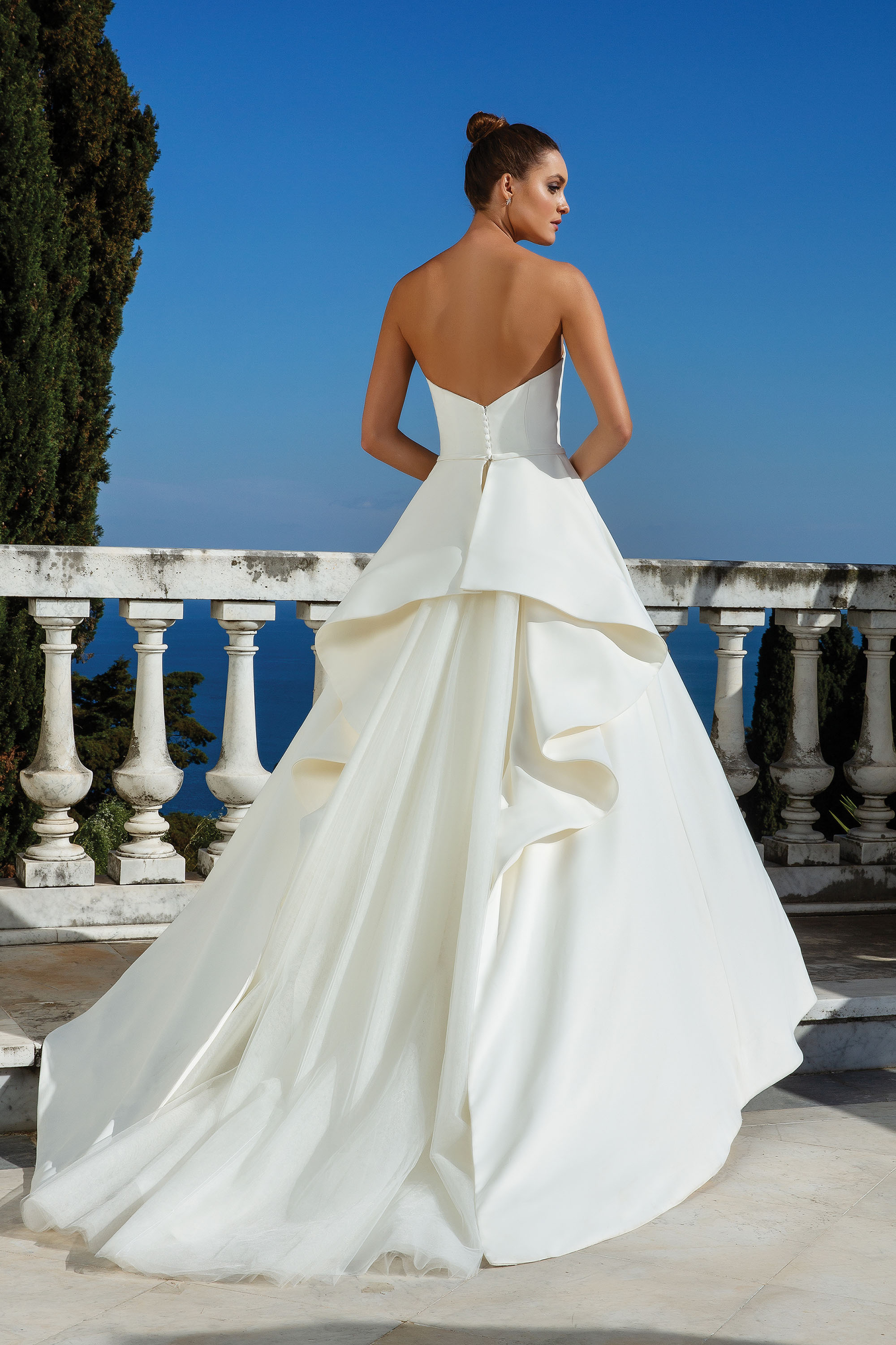 Back details of sleeveless, ball gown wedding dress